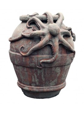 Jare with two octopus H.70cms - terracotta Octopus vulgaris