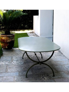 Wrought iron oval table 200 X 110 cm
