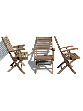 Teak folding chair with armrests