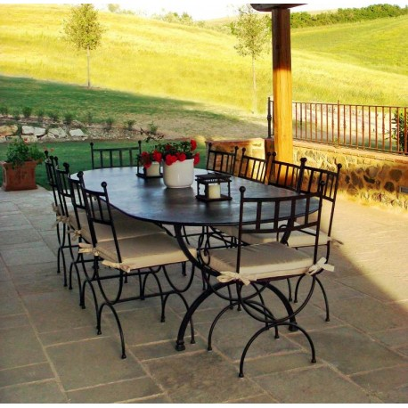 Forged iron Table and armchairs