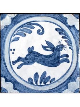 Copia di antica piastrella italiana LEPRE