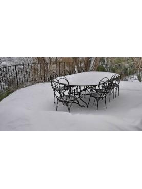 Grande tavolo in ferro battuto e lamiera