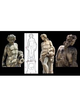 Statua di Bacco in cemento con base