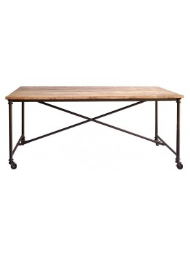 Minimalist table antique wood and iron