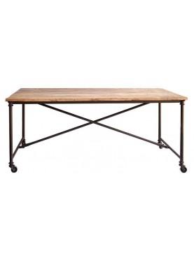 Tavolo minimalista 180 CM in ferro e legno antico