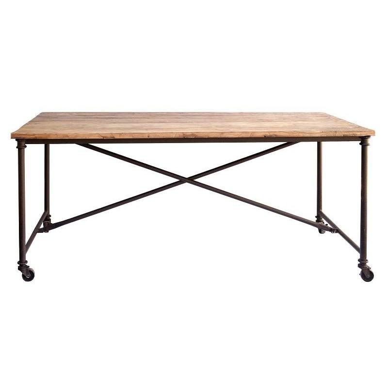 Tavolo minimalista 180 cm in ferro e legno antico - Recuperando