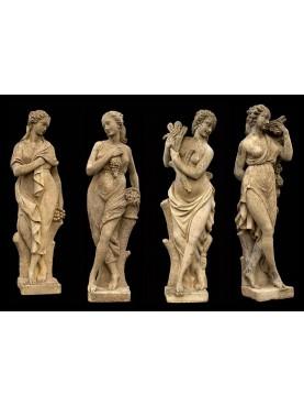 4 statue da giardino in pietra ricostituita