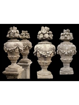 Couple of urns concrete with festoon