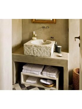 Lavandino quadrato in marmo bianco di Carrara