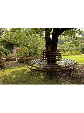 Circular wrought iron tree bench