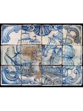 Portuguese panel of 12 majolica tiles