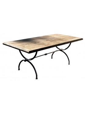 Minimalist table wood and iron