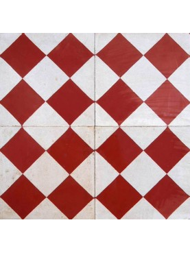 Cement Tiles Red White Check