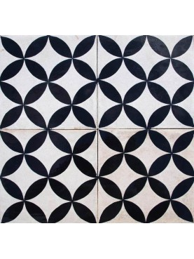 Cement Tiles Geometric Flowers Black White