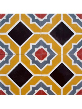 Cement Tiles OCRE RED WHITE BLACK GREY
