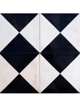 Cement Tiles Black and White Half Squares