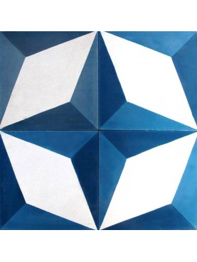 Cement Tiles Star Blue Light Blue White
