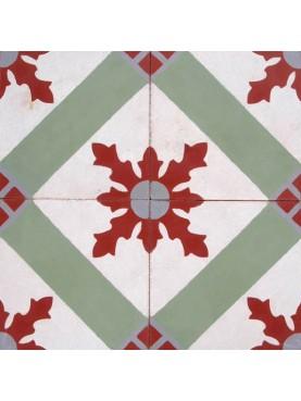 Cementine Idrauliche Decorate Verde Rosso Bianco