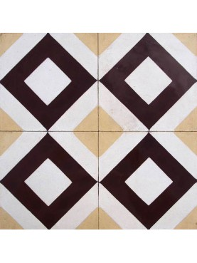 Cement tiles Geometric Pattern Brown Sand White