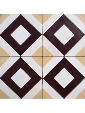 Cementine Idrauliche Motivo Geometrico Marrone Sabbia Bianco
