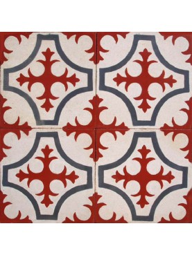 Cement tiles Decorated with Red Cross and Blue Geometric Pattern