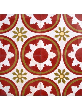 Cement tiles Decorated Flowers Circles Red White