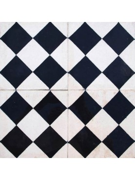 Cement tiles Checks Rhombus Black and White