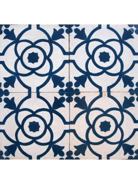 Cement tiles Decorated Blue White Floral Pattern