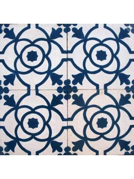 Cementine Idrauliche Decorate Blu Bianco Motivo Floreale