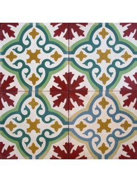 Cement tiles Central Leaf Red Green Ocher