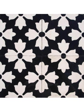 Cement tiles Black Background White Flowers
