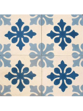 Cement tiles Decorated Cream Light Blue and Blue