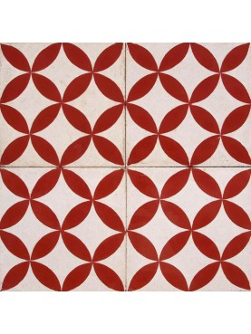 Cement tiles Decorated Geometric Design Red and White