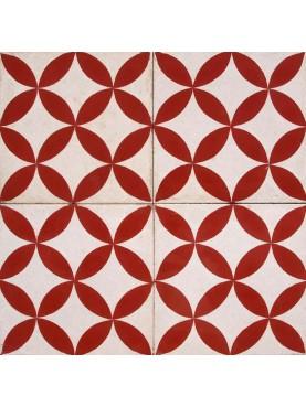 Cementine idrauliche Decorate Disegno Geometrico Rosso Bianco