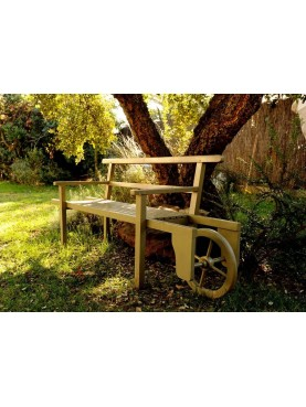 Teak wheelbarrow bench