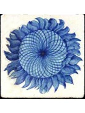 Piastrella di maiolica girasole azzurro