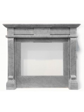 Fireplace in white carrara marble