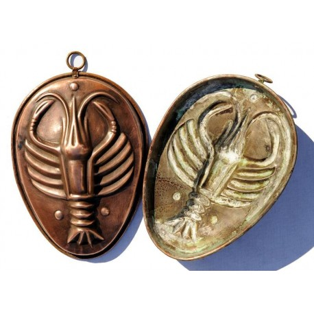 Copper pudding mold with lobster