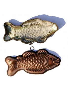 Copper pudding mold fish