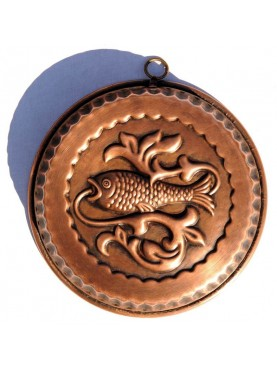Copper round pudding mold fish