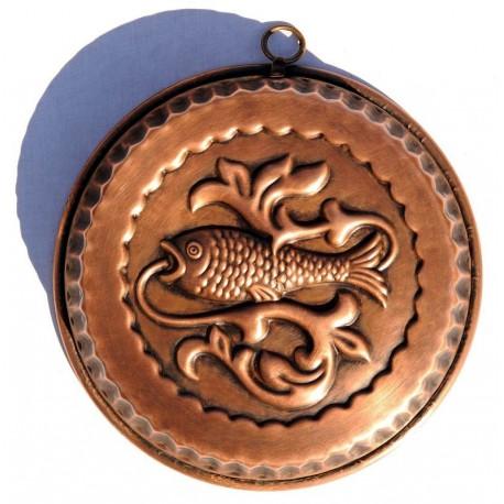 Copper round pudding mold fish