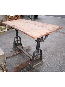 Iron table and wood