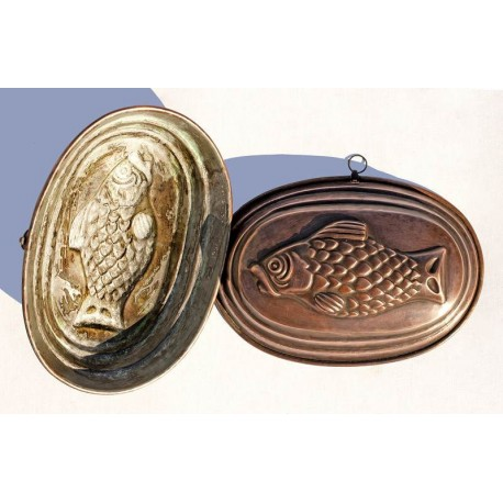 Copper pudding mold two fishes