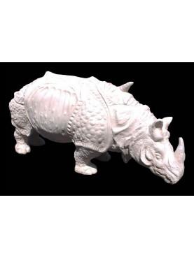 Il Rinoceronte di Albrecht Durer terracotta bianca