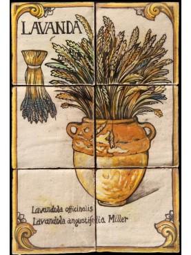 Flowers maiolica panel lavender