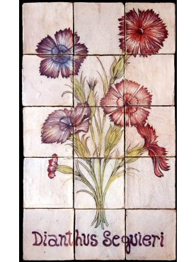 Pannello maiolicato fiori