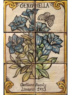 Flowers maiolica panel gentian