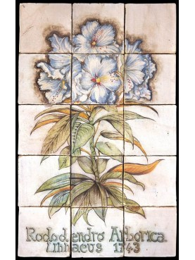 Flowers maiolica panel rhododendron