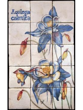 Flowers maiolica panel Aquilegia