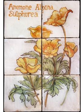 Flowers maiolica panel Anemone alpina